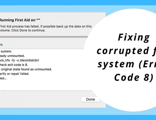 Fixing corrupted file system (Error Code 8)