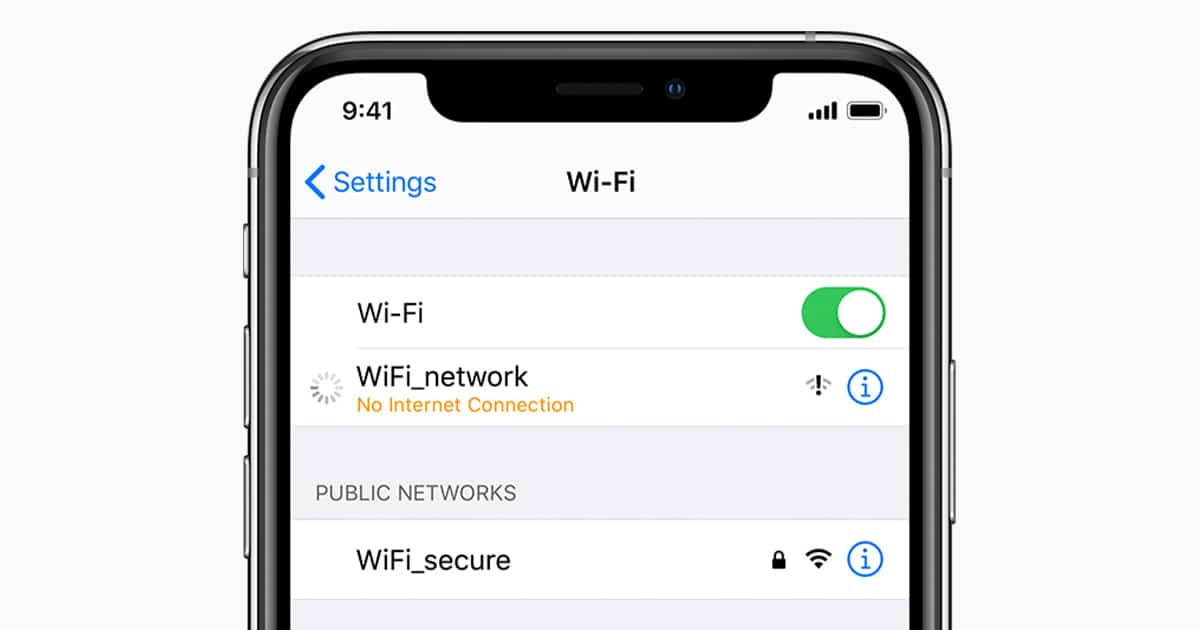 iphone connected to wifi but no internet